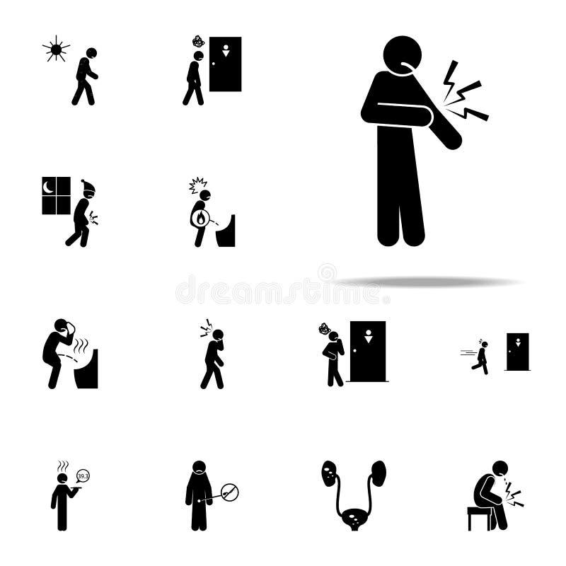 αγκώνας, εικονίδιο πόνου Καθολικό εικονιδίων ανθρώπων πόνου που τίθεται για τον Ιστό και κινητό απεικόνιση αποθεμάτων