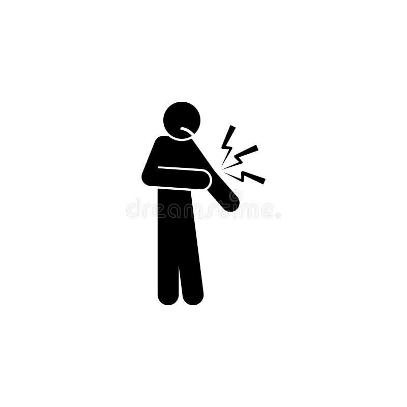 αγκώνας, εικονίδιο πόνου Στοιχείο του ανθρώπινου εικονιδίου πόνου για την κινητούς έννοια και τον Ιστό apps Ο λεπτομερής αγκώνας, διανυσματική απεικόνιση
