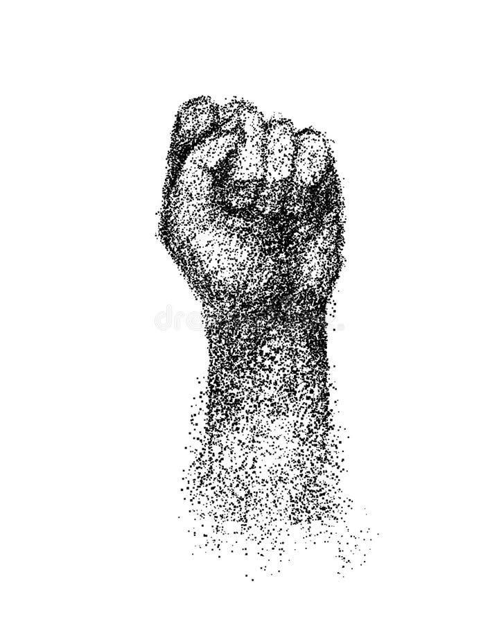 Αγκώνας χεριών που αυξάνεται επάνω, σφιγγμένη χάραξη πυγμών απεικόνιση αποθεμάτων