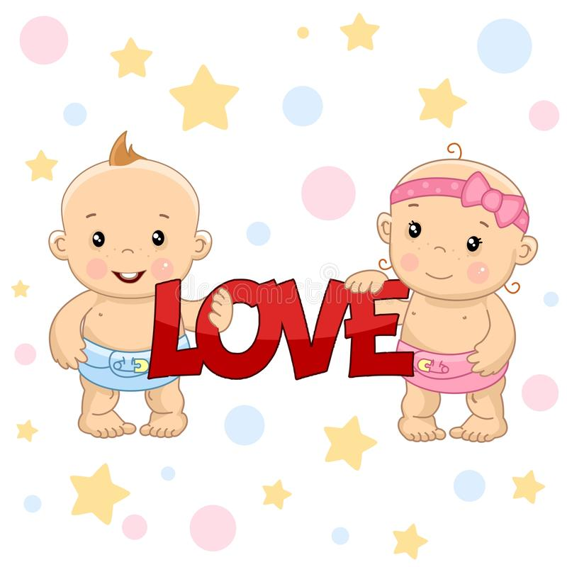 Αγοράκι και κορίτσι 1 μέρος ελεύθερη απεικόνιση δικαιώματος