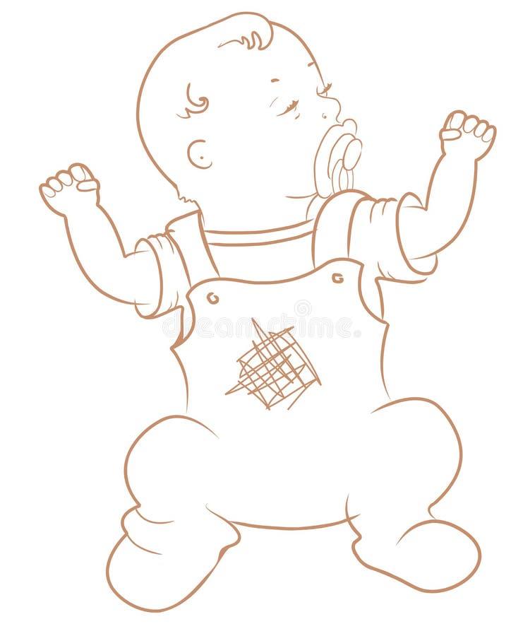 αγοράκι χαριτωμένο λίγα Σερνμένος αγοράκι στο μπλε συνολικά απεικόνιση αποθεμάτων