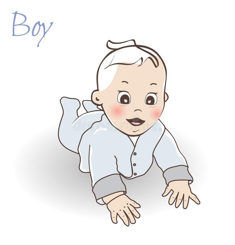 αγοράκι χαριτωμένο λίγα Σερνμένος αγοράκι στο μπλε συνολικά διανυσματική απεικόνιση