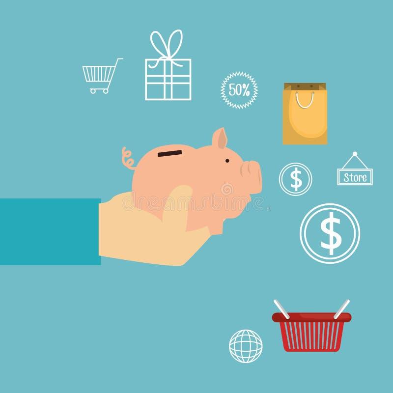 Αγοράστε σε απευθείας σύνδεση με τη piggy αποταμίευση απεικόνιση αποθεμάτων
