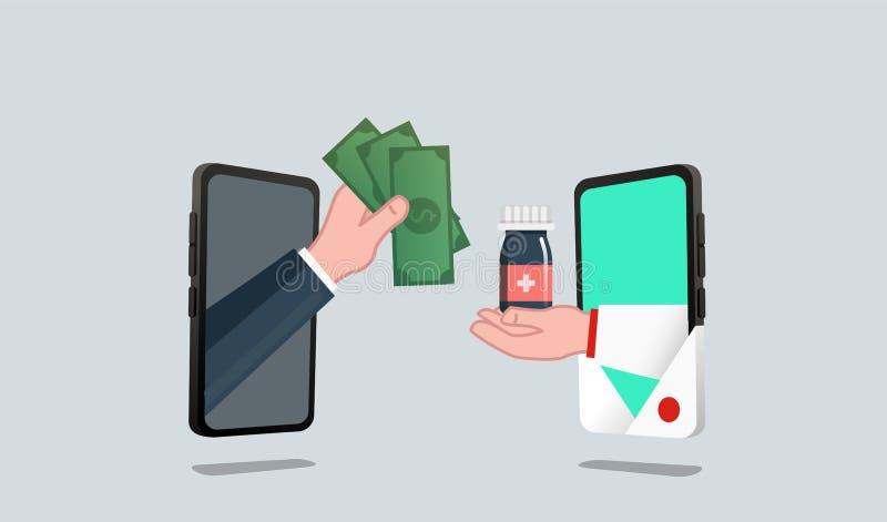 Αγοράστε τα φάρμακα από τους γιατρούς, σε απευθείας σύνδεση έννοια ιατρικής φαρμακείων απεικόνιση αποθεμάτων