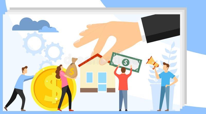 Αγοράστε την ακίνητη περιουσία Οι μίνι άνθρωποι αγοράζουν ένα σπίτι για τα χρήματα Ένας κτηματομεσίτης άντεξε ένα χέρι με ένα σπί διανυσματική απεικόνιση