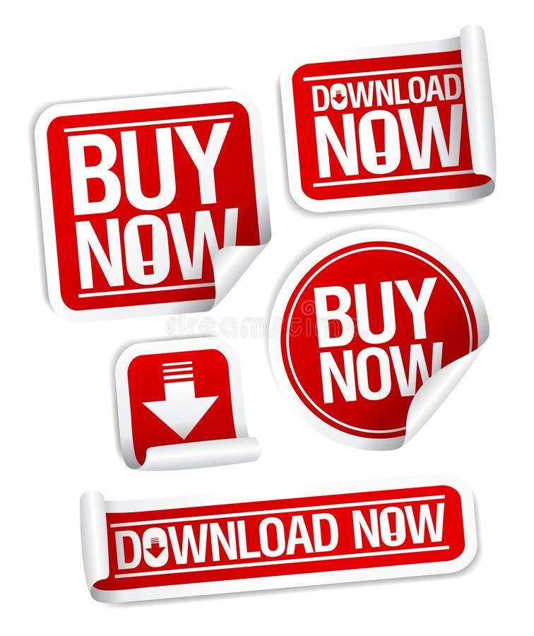 Αγοράστε τις σε απευθείας σύνδεση αυτοκόλλητες ετικέττες. ελεύθερη απεικόνιση δικαιώματος