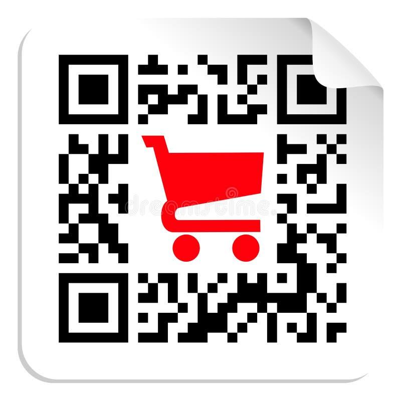 αγοράστε το σημάδι ετικετών κώδικα qr διανυσματική απεικόνιση