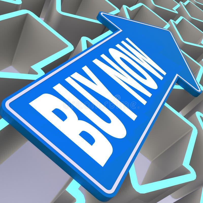 Αγοράστε τώρα τη λέξη με το μπλε βέλος απεικόνιση αποθεμάτων
