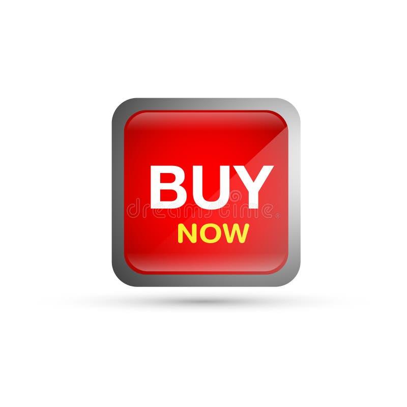 Αγοράστε τώρα το κουμπί πώλησης στο κόκκινο στο άσπρο υπόβαθρο απεικόνιση αποθεμάτων