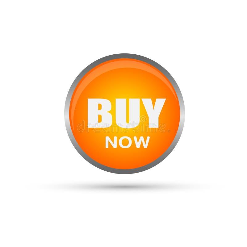 Αγοράστε τώρα το κουμπί πώλησης στο πορτοκάλι στο άσπρο υπόβαθρο ελεύθερη απεικόνιση δικαιώματος