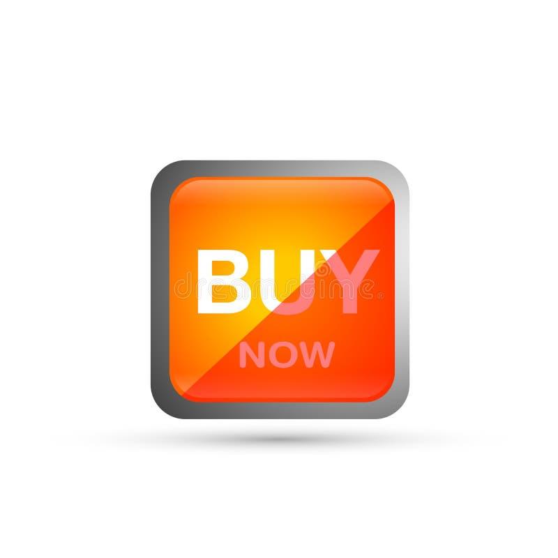 Αγοράστε τώρα το κουμπί πώλησης στο πορτοκάλι στο άσπρο υπόβαθρο διανυσματική απεικόνιση