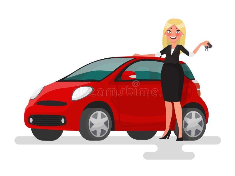 Αγορά ή πώληση ενός αυτοκινήτου Ξανθή γυναίκα που κρατά τα κλειδιά κοντά απεικόνιση αποθεμάτων
