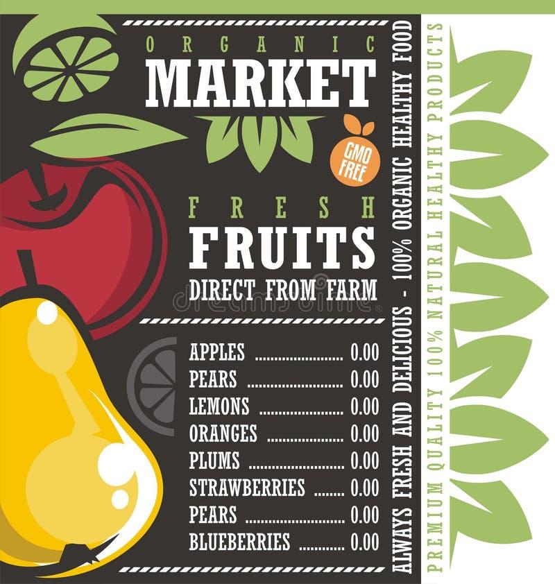 Αγορά αγροτικών νωπών καρπών διανυσματική απεικόνιση