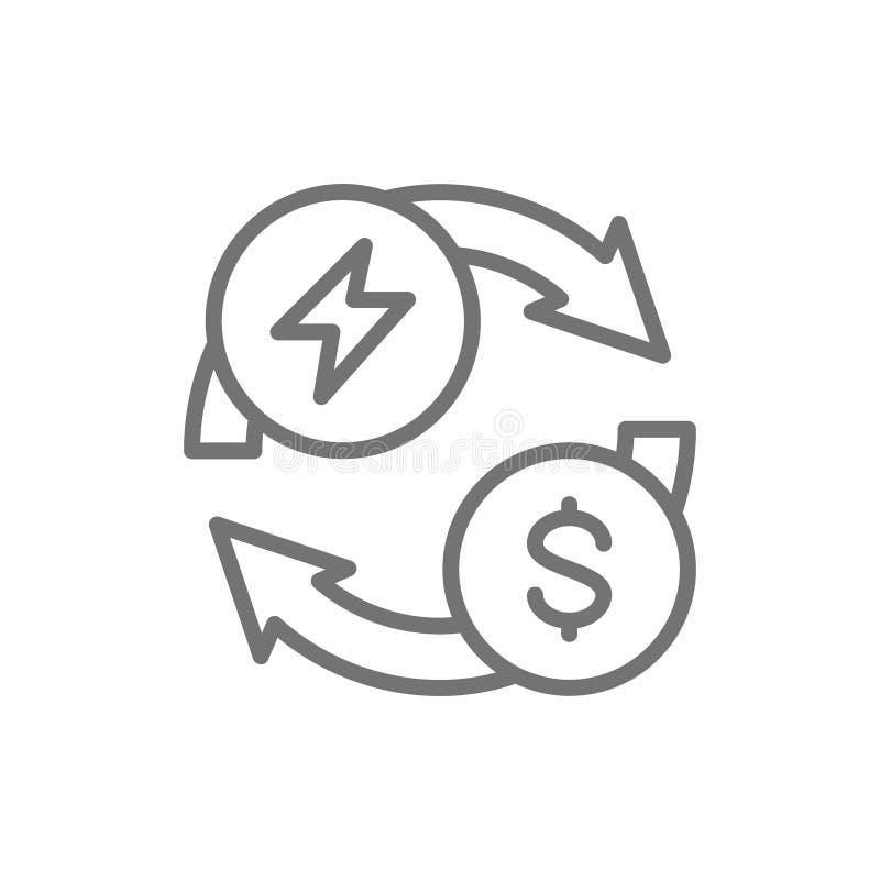 Αγορά και πώληση της ηλεκτρικής ενέργειας, της ενέργειας και του εικονιδίου γραμμών ανταλλαγής χρημάτων απεικόνιση αποθεμάτων