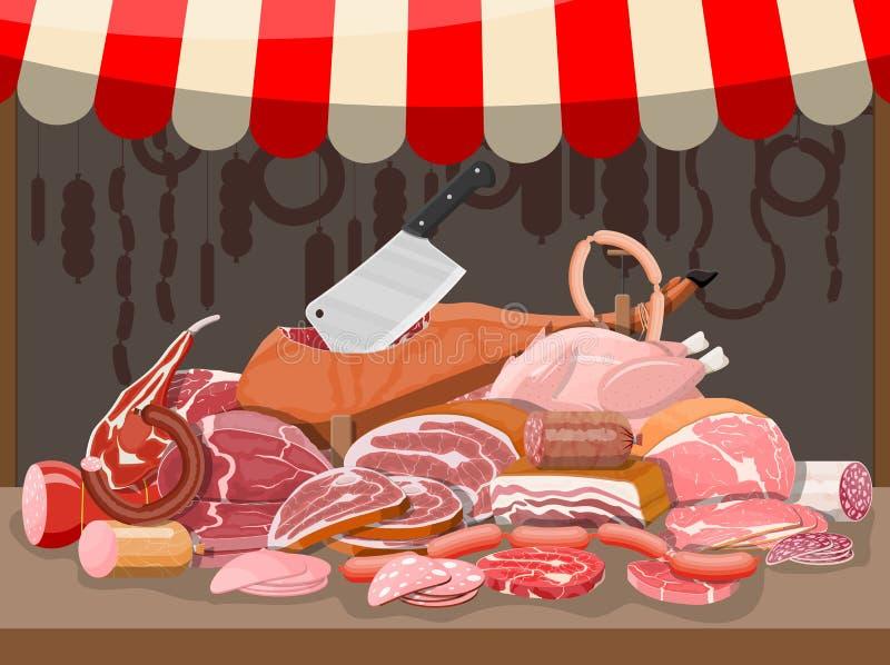 Αγορά οδών κρέατος Στάβλος καταστημάτων κρέατος απεικόνιση αποθεμάτων
