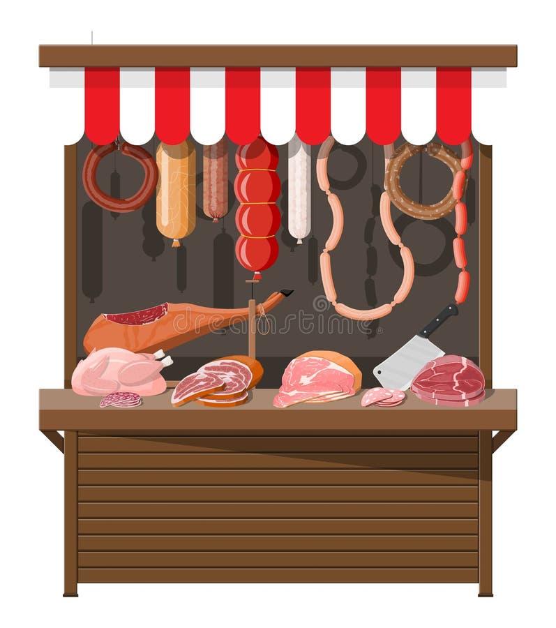 Αγορά οδών κρέατος Στάβλος καταστημάτων κρέατος διανυσματική απεικόνιση