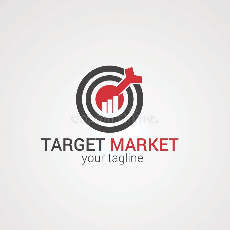 Αγορά στόχων με το κόκκινο βέλος στο διάνυσμα, το εικονίδιο, το στοιχείο, και το πρότυπο κεντρικών λογότυπων για την επιχείρηση απεικόνιση αποθεμάτων