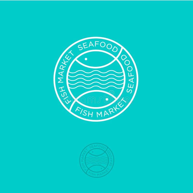 αγορά ψαριών Κατάστημα θαλασσινών Επιστολές και ψάρια σε έναν κύκλο με τα κύματα σε ένα κυανό υπόβαθρο απεικόνιση αποθεμάτων