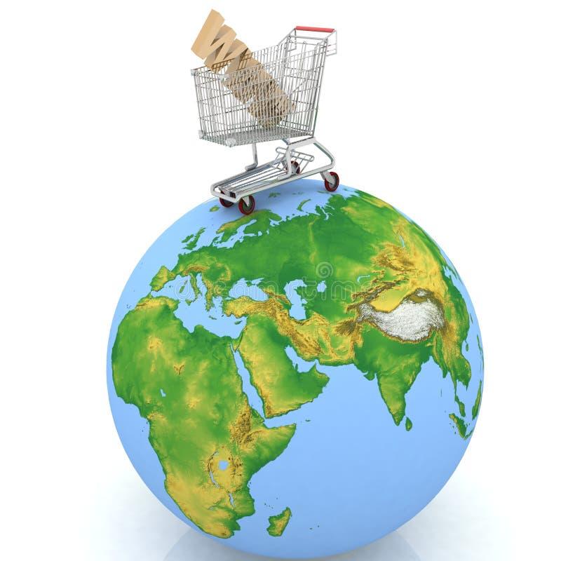αγορές γήινου Διαδικτύο ελεύθερη απεικόνιση δικαιώματος