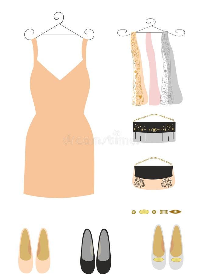 Αγορές για τις γυναίκες που αγοράζουν τα φορέματα διανυσματική απεικόνιση