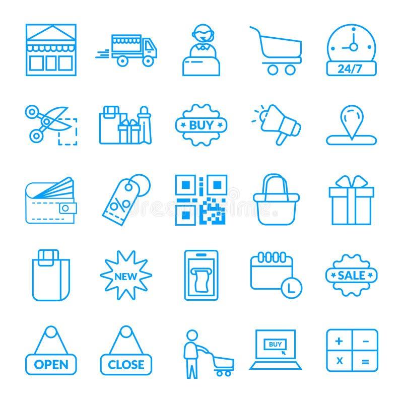 αγορές, διανυσματικό εικονίδιο ηλεκτρονικού εμπορίου διανυσματική απεικόνιση