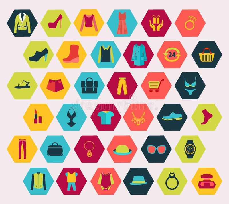 Αγορές και σχετικά με τη μόδα εικονίδια καθορισμένα γίνοντες στη hexagon μορφή ελεύθερη απεικόνιση δικαιώματος