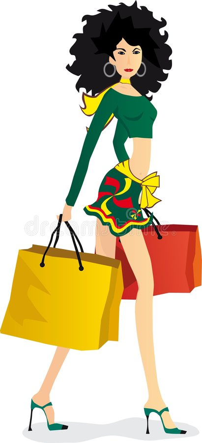 Download αγορές κοριτσιών διανυσματική απεικόνιση. εικονογραφία από μοντέρνος - 1540365