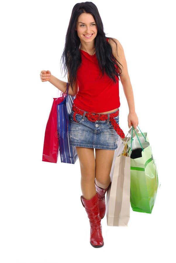 Download αγορές κοριτσιών στοκ εικόνα. εικόνα από αγοραστής, λαβή - 2231083