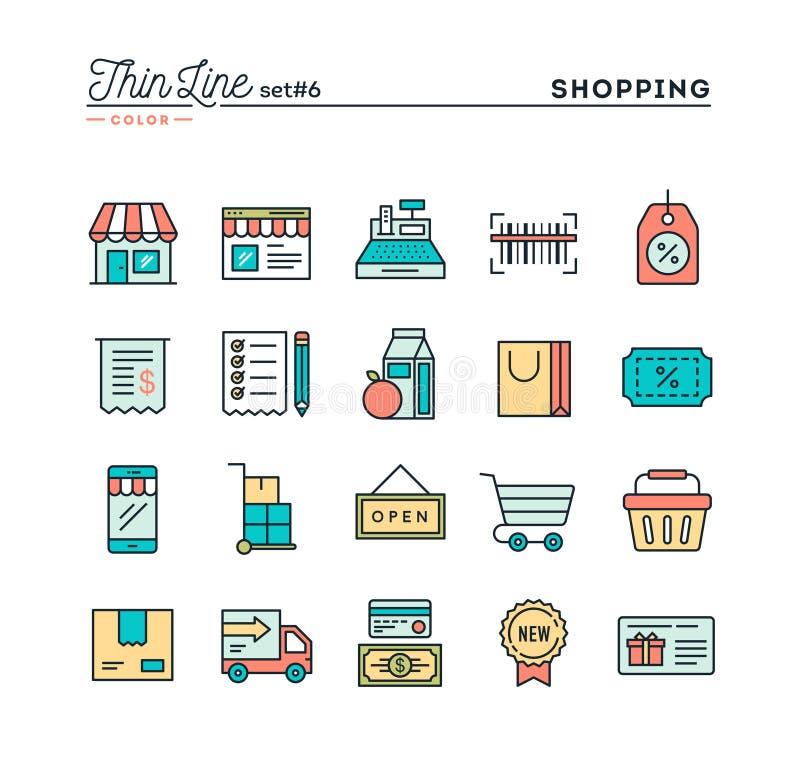 Αγορές, λιανικός, παράδοση, κάρτα δώρων, έκπτωση και περισσότερο, λεπτό λ διανυσματική απεικόνιση