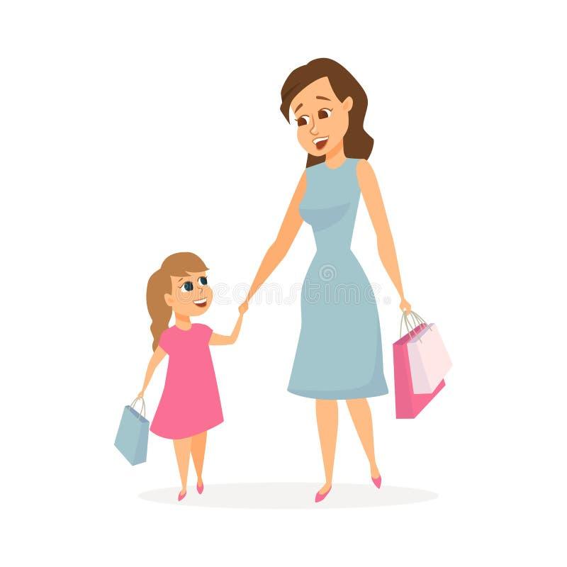 Αγορές μητέρων και κορών διανυσματική απεικόνιση