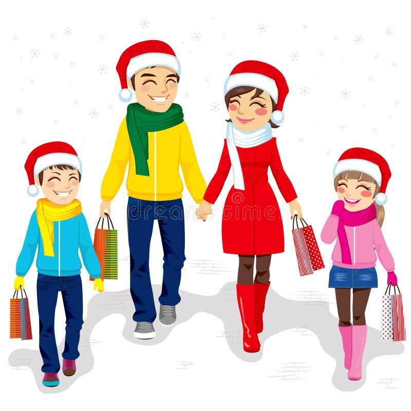 Αγορές οικογενειακών Χριστουγέννων ελεύθερη απεικόνιση δικαιώματος