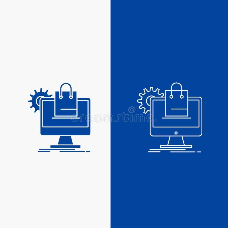 αγορές, σε απευθείας σύνδεση, ηλεκτρονικό εμπόριο, υπηρεσίες, γραμμή κάρρων και κουμπί Ιστού Glyph στο μπλε κάθετο έμβλημα χρώματ διανυσματική απεικόνιση