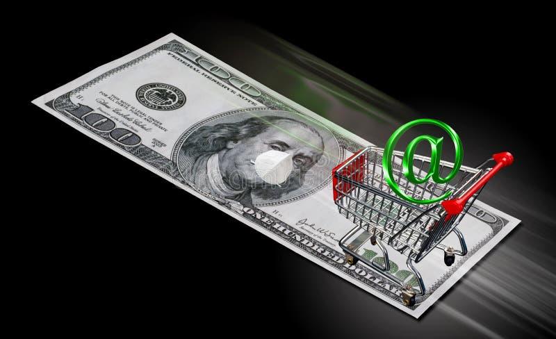 Αγορές στο Internet κατά τη διάρκεια του στοκ φωτογραφία