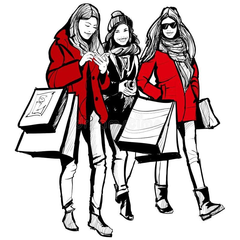 Αγορές τριών νέες μοντέρνες γυναικών απεικόνιση αποθεμάτων