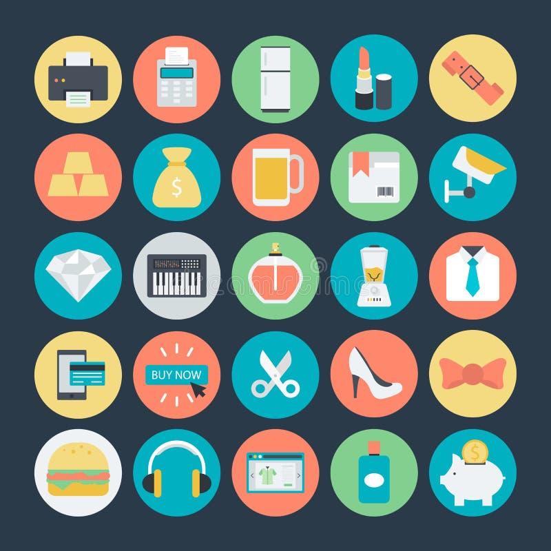 Αγορές χρωματισμένα διανυσματικά εικονίδια 3 διανυσματική απεικόνιση
