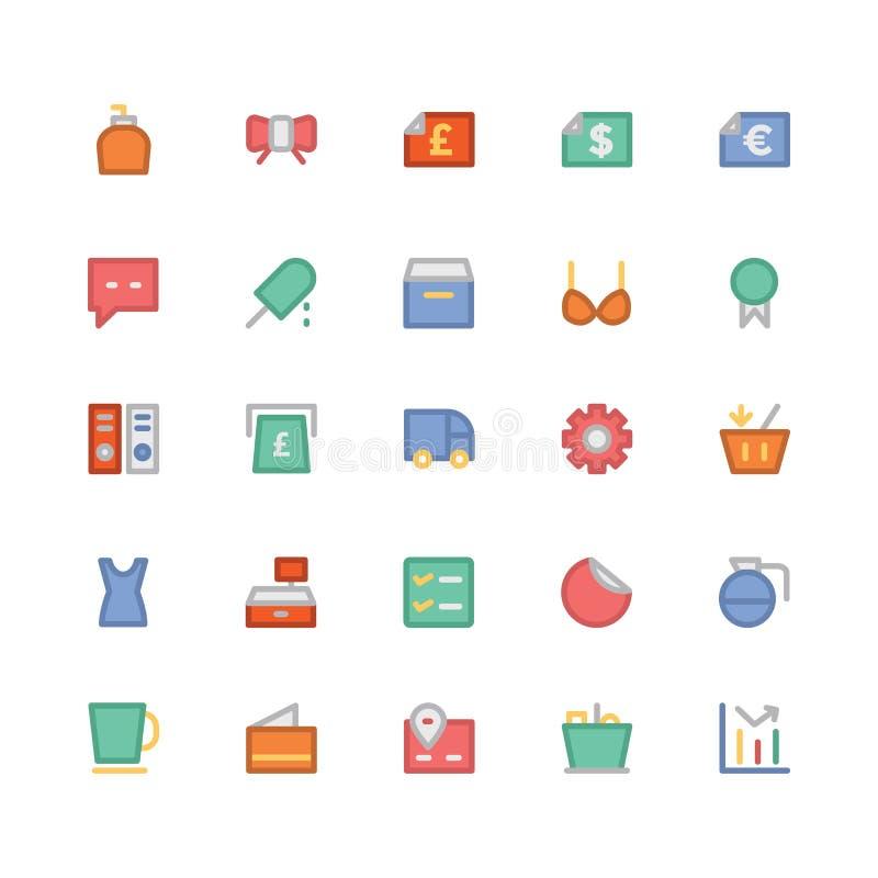 Αγορές χρωματισμένα διανυσματικά εικονίδια 12 διανυσματική απεικόνιση