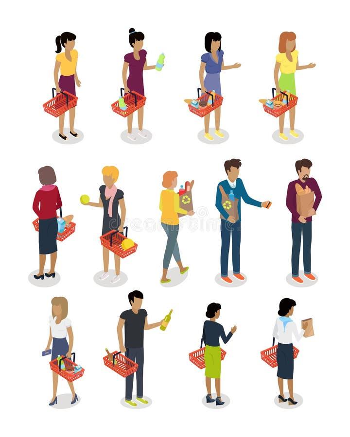 Αγορών διανυσματικό σύνολο χαρακτήρων ανθρώπων Isometric διανυσματική απεικόνιση