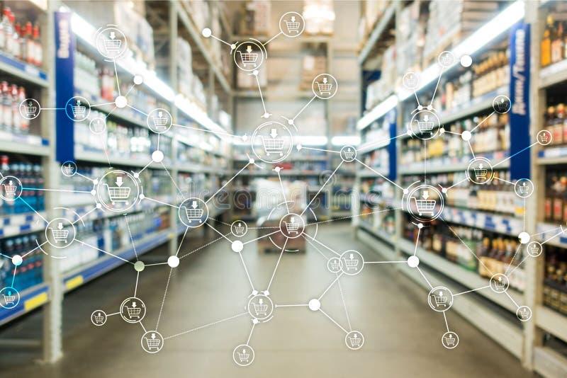 Αγορών κάρρων δομών λιανικό υπόβαθρο υπεραγορών μάρκετινγκ θολωμένο ηλεκτρονικό εμπόριο στοκ φωτογραφίες