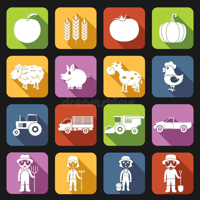 Αγροτικά εικονίδια καθορισμένα επίπεδα ελεύθερη απεικόνιση δικαιώματος