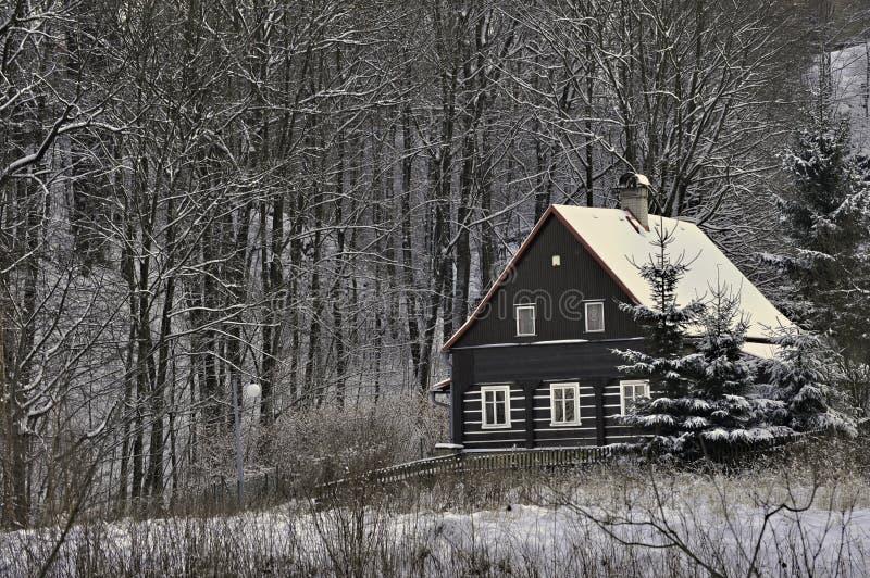 Αγροτικά ευρωπαϊκό κτήριο κούτσουρων το χειμώνα στοκ εικόνες