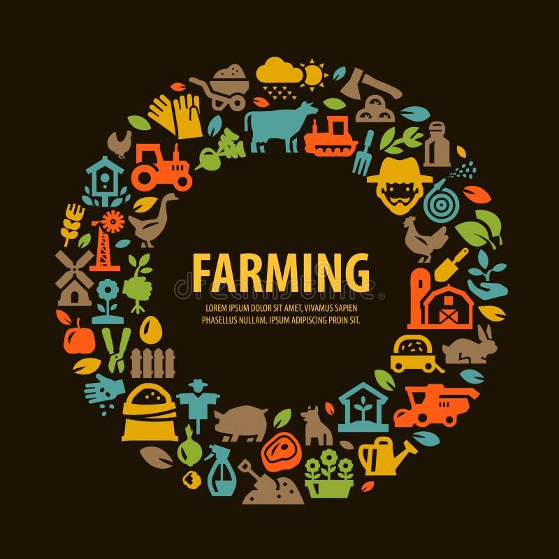 Αγροτικά καθορισμένα εικονίδια σύμβολα σημαδιών απεικόνιση αποθεμάτων