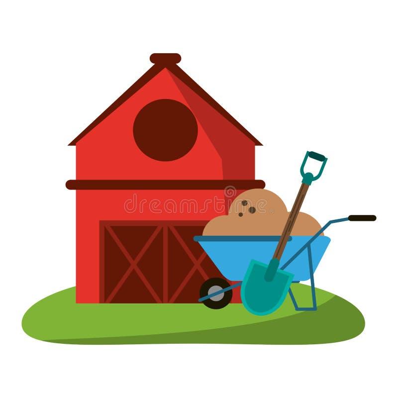 Αγροτικά σπίτι και wheelbarrow με το έδαφος και το φτυάρι ελεύθερη απεικόνιση δικαιώματος