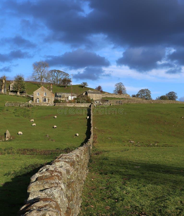 Αγροτικές οικοδομήσεις στην επαρχία με τον τοίχο πετρών στοκ φωτογραφία με δικαίωμα ελεύθερης χρήσης