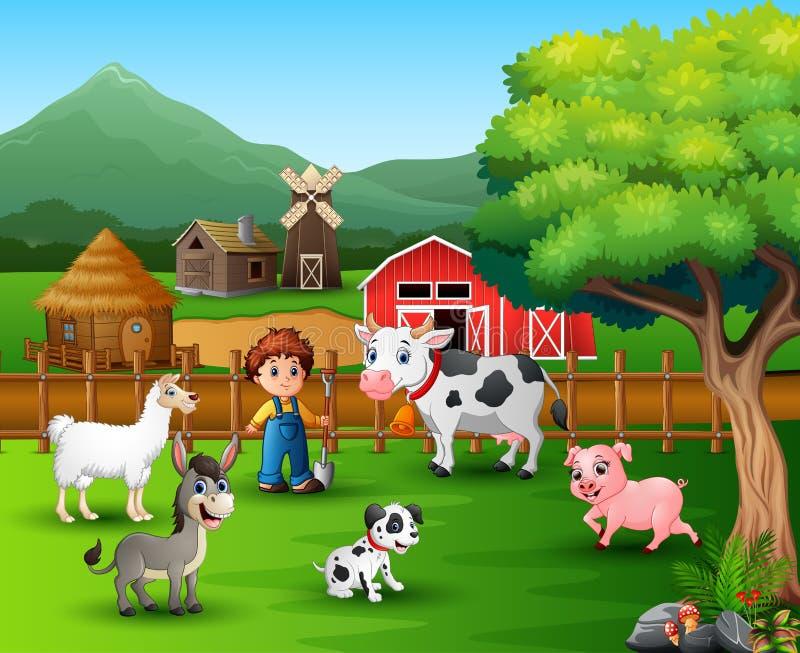 Αγροτικές σκηνές με τα διαφορετικούς ζώα και τους αγρότες στην αυλή απεικόνιση αποθεμάτων
