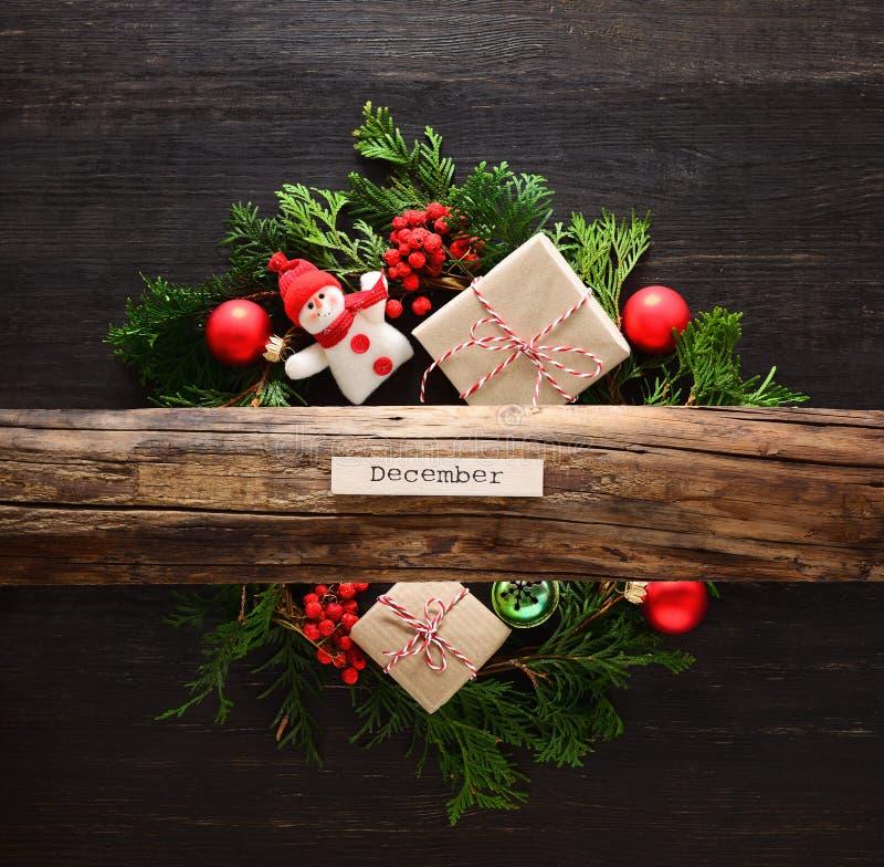 Αγροτική έννοια Noel ή Χριστουγέννων στοκ εικόνα με δικαίωμα ελεύθερης χρήσης