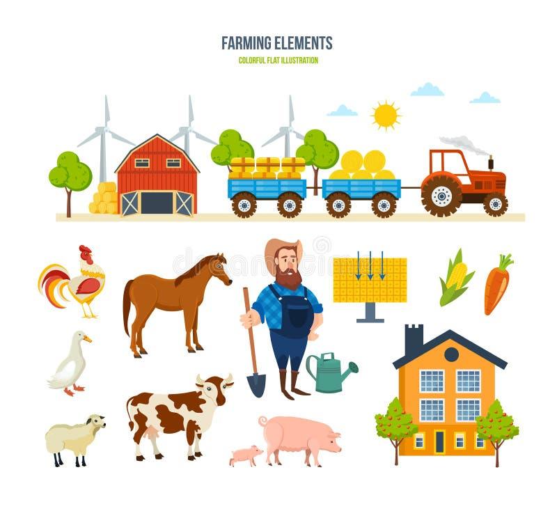 Αγροτική αποθήκη εμπορευμάτων, τρακτέρ με το σανό, ζώα, φρούτα, λαχανικά, αγροτική θέση απεικόνιση αποθεμάτων