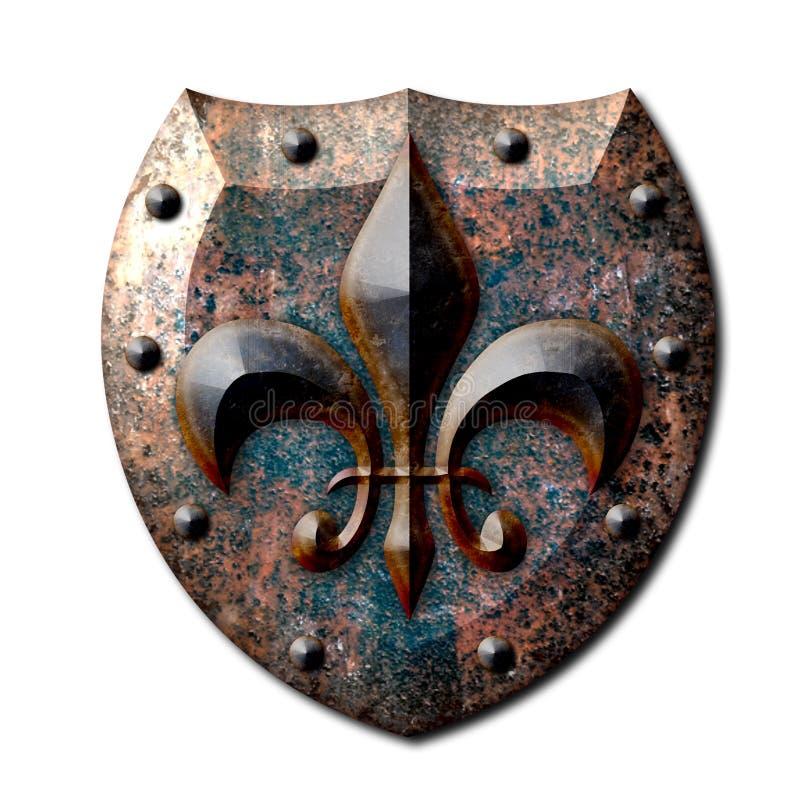 Αγροτική ασπίδα Fleur de lis μετάλλων διανυσματική απεικόνιση
