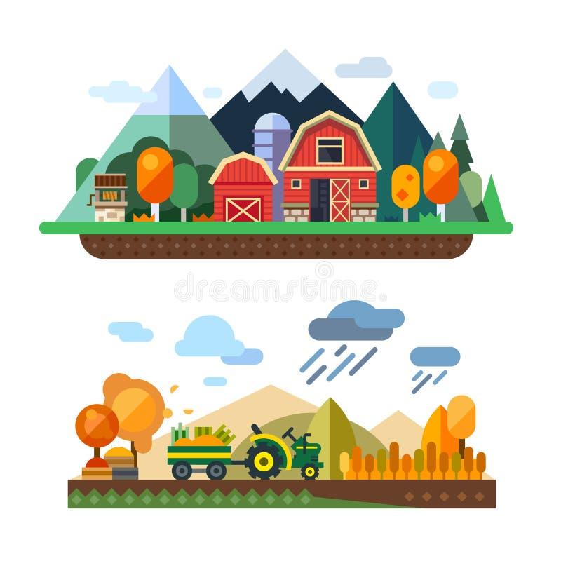 Αγροτική ζωή διανυσματική απεικόνιση