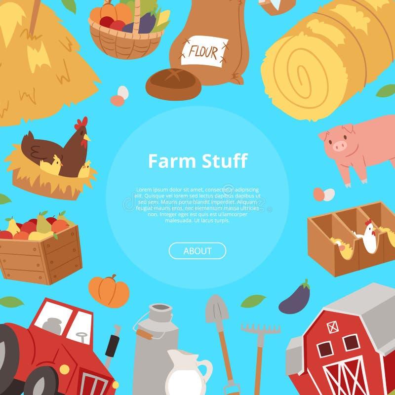 Αγροτική ουσία και υπόβαθρο βιομηχανίας μεταποίησης αγροτικών προϊόντων Bannner με τον αγροτικό εξοπλισμό κινούμενων σχεδίων, τρό ελεύθερη απεικόνιση δικαιώματος