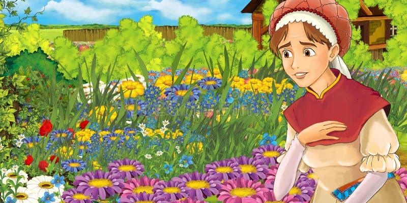 Αγροτική σκηνή κινούμενων σχεδίων μιας γυναίκας στον κήπο ελεύθερη απεικόνιση δικαιώματος